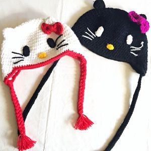 Set of Two Crocheted Hello Kitty Hats One Size
